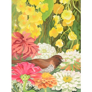 "Laurie Flaherty ""Nestle"" Contemporary Flora and Fauna Gouache Painting For Sale"
