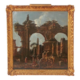 Baroque Painting / Classical Ruins Attributed to Giovanni Ghisolfi (1623-1683)