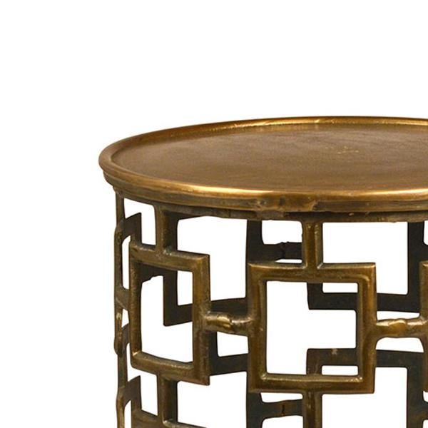 Cut Out Brass Drum Side Table Chairish - Brass drum side table