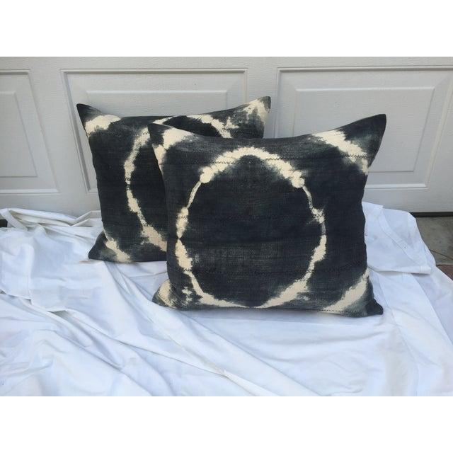 Grey Tie-Dye Mud Cloth Pillows - Pair - Image 2 of 6