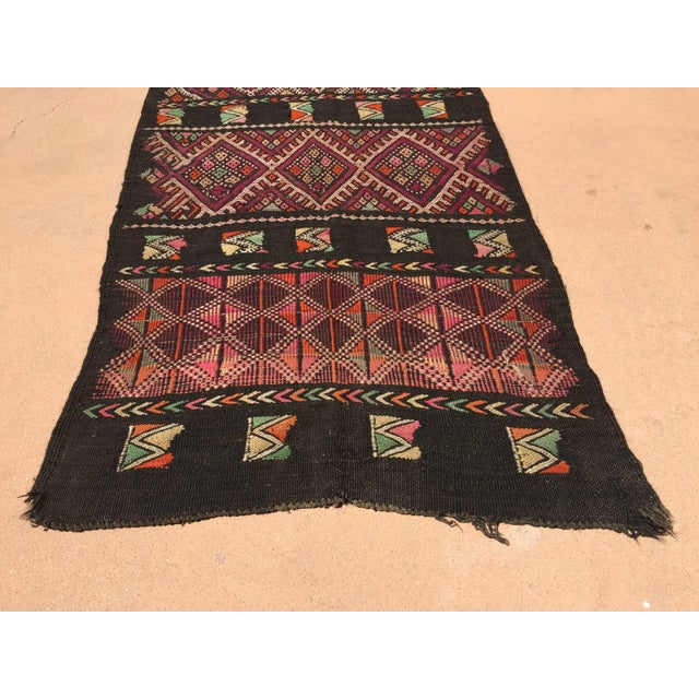 Early 20th Century Moroccan Black Tuareg Tribal African Rug Runner For Sale - Image 5 of 8