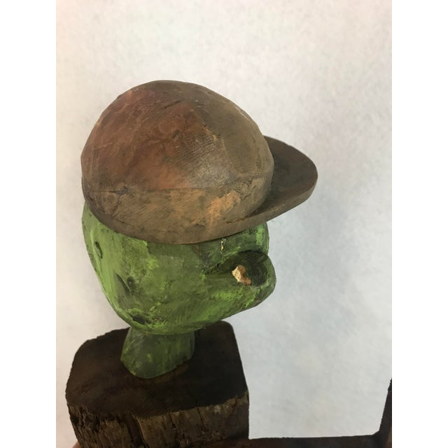 1980s 1980s Folk Art William Bill Skrips Sculpture of Boy With Baseball Hat For Sale - Image 5 of 10