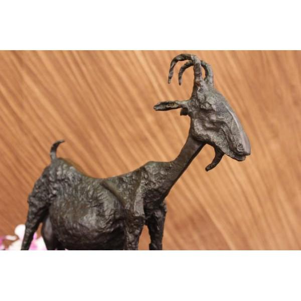 Brutalist Style Bronze Goat Sculpture on Marble Base - Image 4 of 6