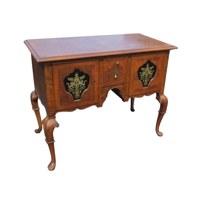 Metal 1920s Chippendale Tobey Furniture Company Walnut and Burl Lowboy For Sale - Image 7 of 13