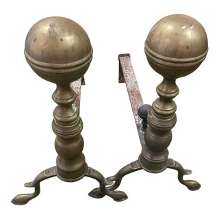 Brass Balltop Andirons - A Pair For Sale
