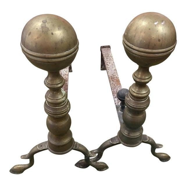 Brass Balltop Andirons - A Pair For Sale