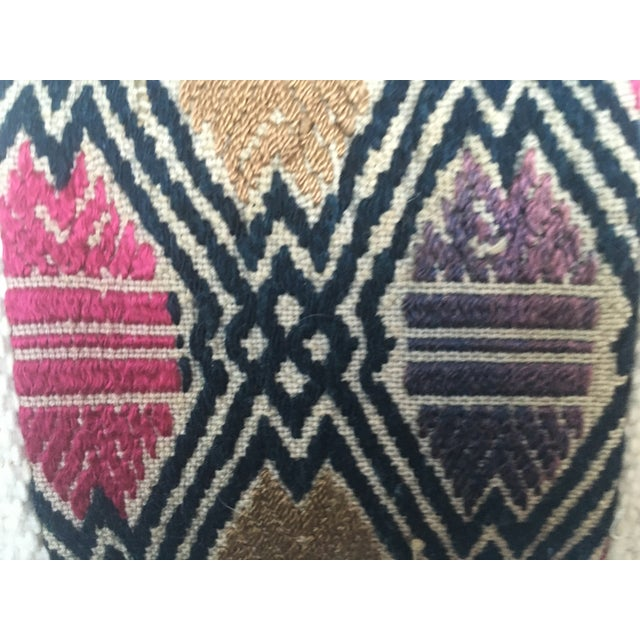 African Mud Cloth Pillow with Tribal Inset - Image 4 of 4
