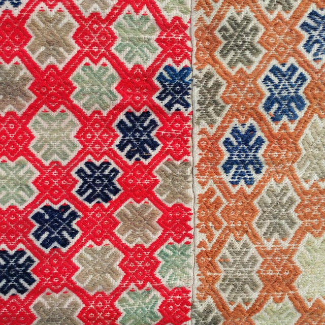 Vintage fabric in red, yellow-orange, sage, indigo, and off-white. Authentic Mongolian & Chinese vintage Miao wedding...