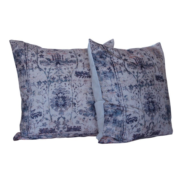 Vintage Turkish Blue Print Pillow Covers - A Pair For Sale