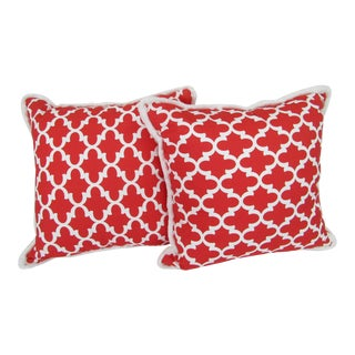 Red & White Moroccan Print Pillows With Fringe , a Pair For Sale