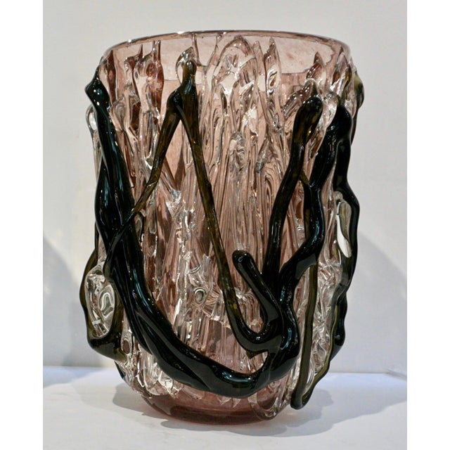 Black Costantini Italian Black Amethyst Clear Murano Glass Vases - a Pair For Sale - Image 8 of 13