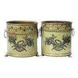 Image of Italian Tole Planters, Cache Pots, Pair For Sale