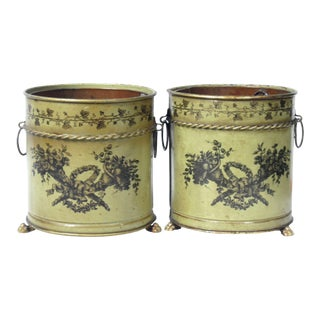 Italian Tole Planters, Cache Pots, Pair For Sale