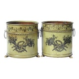 Image of Tole Planters, Italian Cache Pots, Pair For Sale