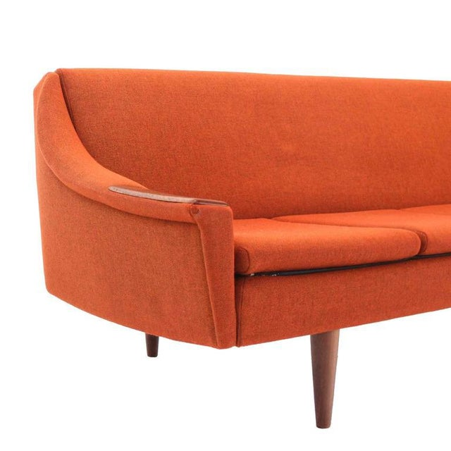 Teak Mid Century Modern Danish Modern Convertible Brick Wool Upholstery Daybed Sofa For Sale - Image 7 of 10