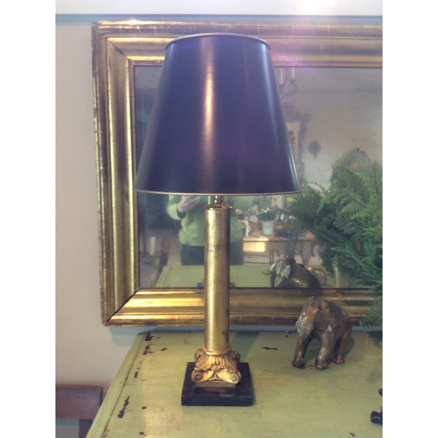 Traditional Gilded Column Lamps on Marble Bases With Black, Gold-Lined Shades - a Pair For Sale - Image 3 of 8