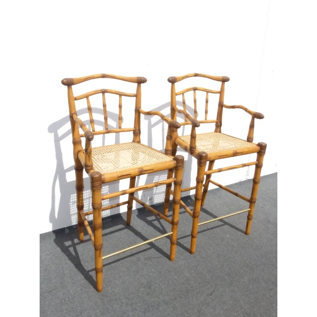Faux Bamboo Bahama Style Bar Stools - A Pair For Sale - Image 5 of 11