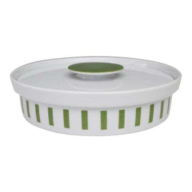 Lagardo Tackett Schmid Small Casserole Dish Porcelain Mid Century Modern Green White For Sale