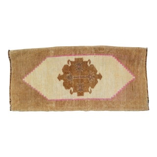 Small Oushak Rug Hand Knotted Bathroom Rug, Petite Kitchen Mat - 1′7″ × 3′3″ For Sale