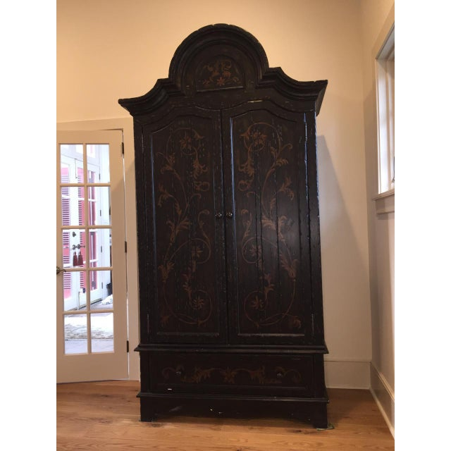 Wooden Floral Decorated Armoire With Custom Trim - Image 2 of 8