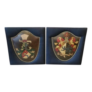 English Coat of Arms Hand-Painted on Leather - A Pair For Sale