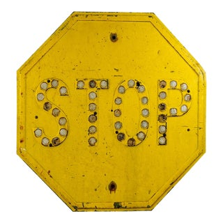 Vintage Yellow Stop Sign With Reflectors For Sale