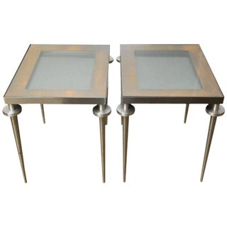 Modern Brushed Steel and Copper Display Table For Sale