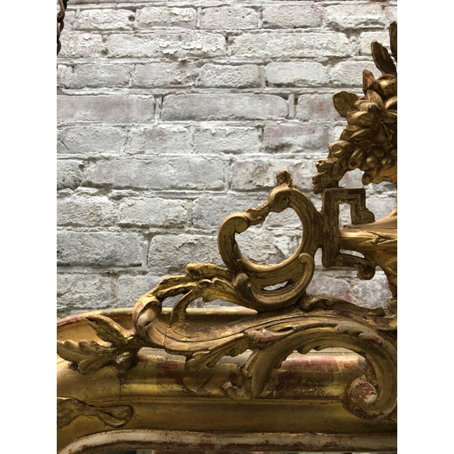 Wood 19th Century French Gilded Mirror For Sale - Image 7 of 12