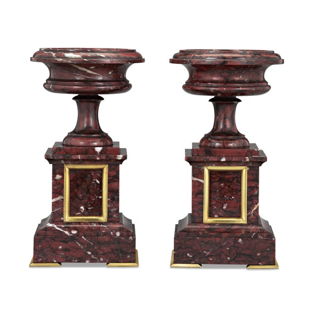 Pair of French Rouge Griott Marble Urns For Sale - Image 4 of 4