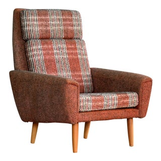 Original Fabric Easy Lounge Chair, Denmark 1960s For Sale