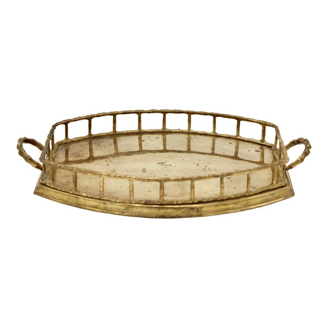 Mid 20th Century Brass Bamboo Tray For Sale
