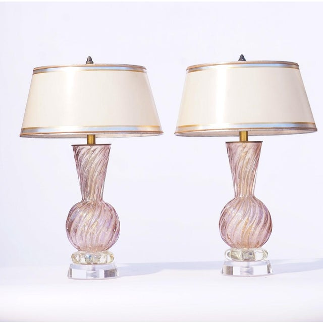 Mid 20th Century Vintage Italian Murano Lavender Lamps With Lucite Bases For Sale - Image 5 of 5