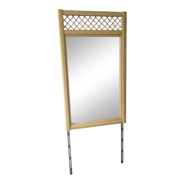 Henry Link Tall Wicker Rattan Mirror For Sale