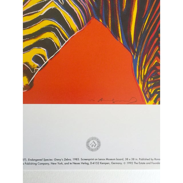 """Andy Warhol Estate Rare Vintage 1992 Endangered Species Collector's Pop Art Lithograph Print """" Grevy's Zebra """" 1983 For Sale In Kansas City - Image 6 of 10"""