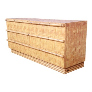 Mid-Century Modern Hollywood Regency Chinoiserie Bamboo Parquetry Dresser or Credenza For Sale