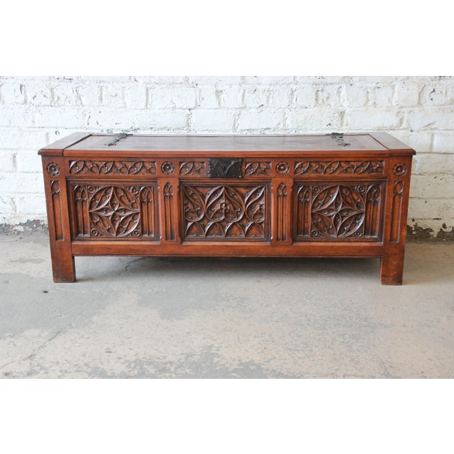 Antique Belgian Gothic Revival Carved Oak Blanket Chest, Circa 1900 For Sale - Image 13 of 13