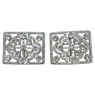 1920s Faceted Glass Shoe Buckles For Sale