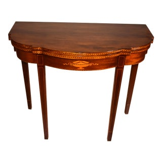 1910 English Sheraton Mahogany Inlaid Console Game Table For Sale