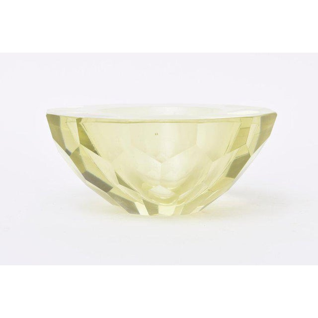 Italian Italian Vintage Murano Diamond Faceted Geode Sommerso Glass Bowl For Sale - Image 3 of 11