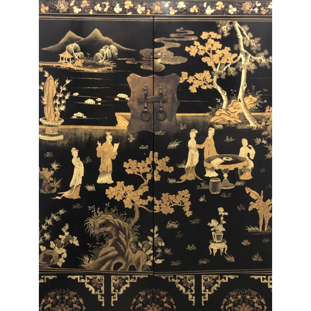 Vintage Chinese Black Lacquer Chinoiserie Cabinet For Sale In Los Angeles - Image 6 of 9