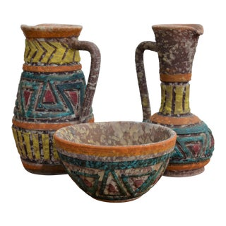 Bitossi for Raymor Italian Lava Glaze Sgraffito Pottery Set For Sale