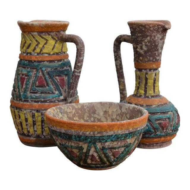 Bitossi for Raymor Italian Lava Glaze Sgraffito Pottery Set For Sale