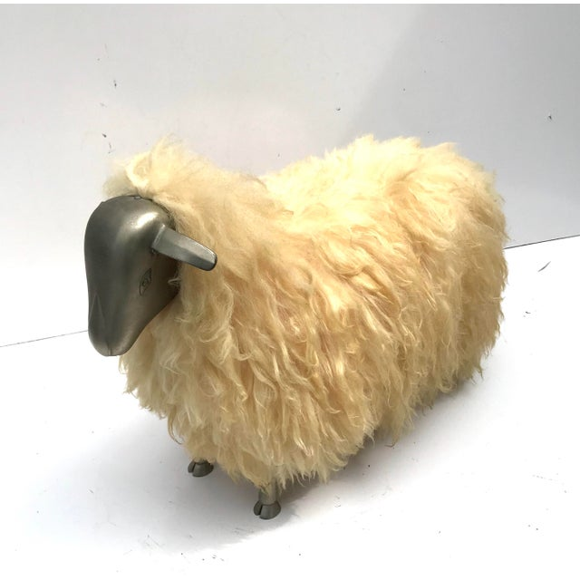 Boho Chic 1970's Lalanne Style Sheep Ottoman Stool For Sale - Image 3 of 11