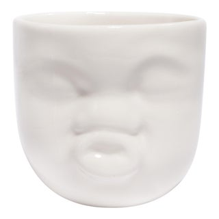 "Handmade White Ceramic ""Kissing"" Face Cup by Dima Gurevich For Sale"