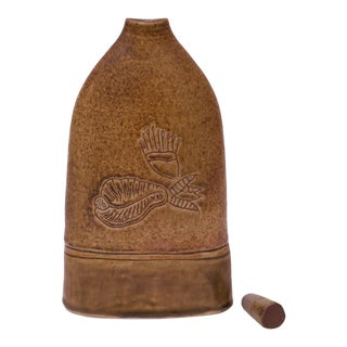 1973 Studio Ceramic Ochre Jug With Stopper Signed Pollack For Sale