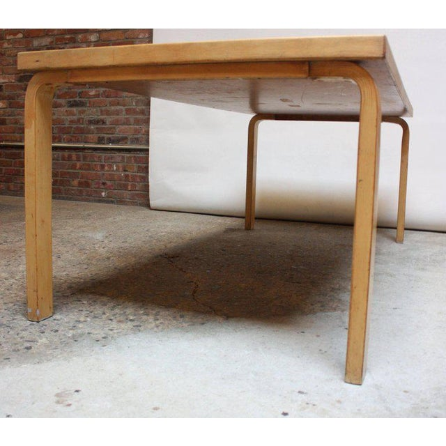 Alvar Aalto Birch Dining or Writing Table with Blue Top and Cabinet - Image 5 of 11