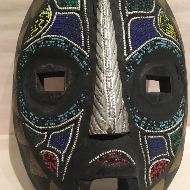 Beaded Mask Wall Art For Sale - Image 4 of 11