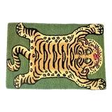 Image of Tibetan Tiger Hunting Shape Persian Rug - Fern Green 3x5 For Sale