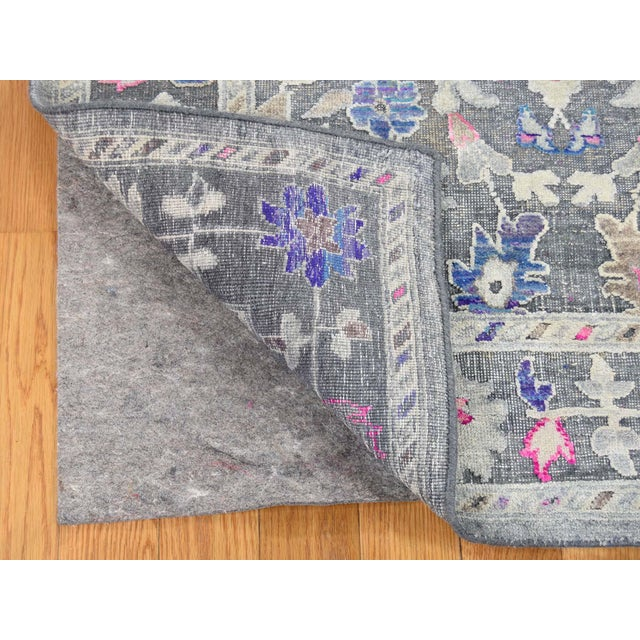 2010s Sari Silk With Oxidized Wool Hand Knotted Oushak Runner- 8′1″ × 10′2″ For Sale - Image 5 of 13