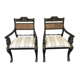 English Antique Regency Style Cane Back Painted Arm Chairs - a Pair For Sale